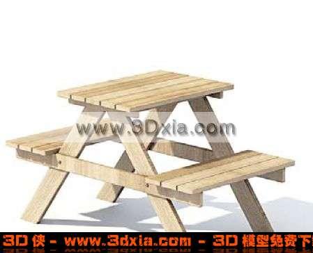 精美的户外桌凳组合3D模型