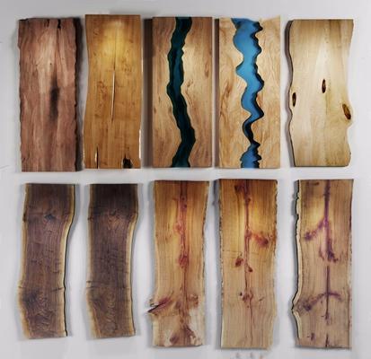 新中式木头台面组合 新中式摆件 台面 桌面 木板组合