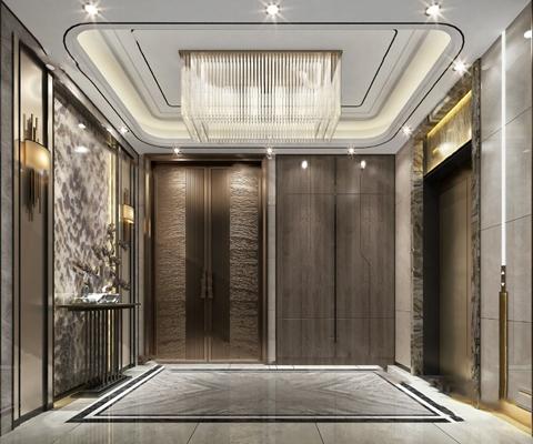 现代电梯厅3D模型