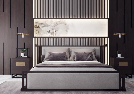 新中式双人床组合 新中式双人床 床头柜 床头灯 床品 挂画 地毯 床头背景墙