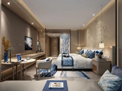 新中式酒店客房双人房3d模型