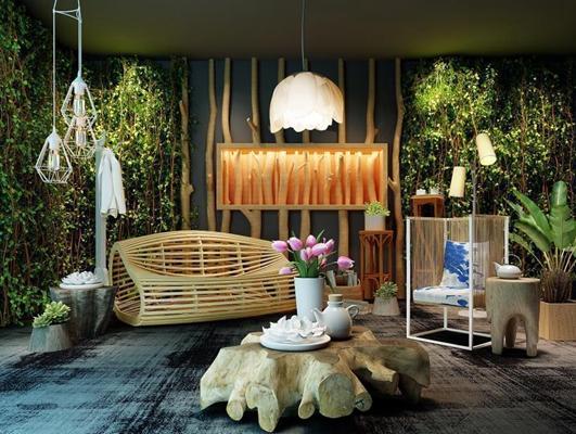 日式东南亚新中式木质休闲椅绿植荷叶吊灯组合 现代木质沙发 木质茶几 单人沙发 吊灯 绿植墙 落地灯 墙饰