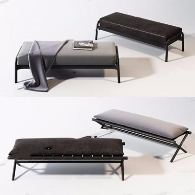 新中式床尾椅 新中式脚踏 床尾椅 长条凳