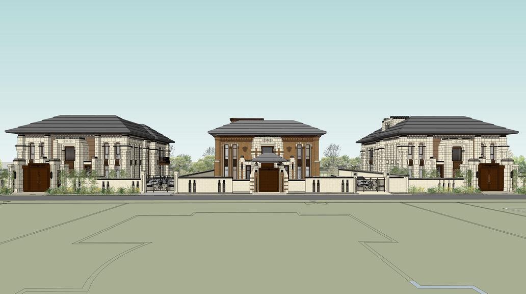中西混合奢华别墅SU模型