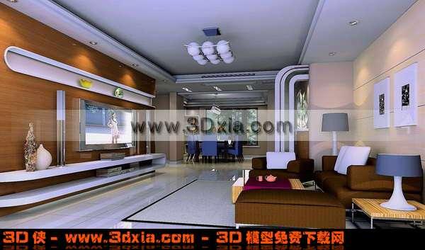 现代精美的客厅3D模型下载
