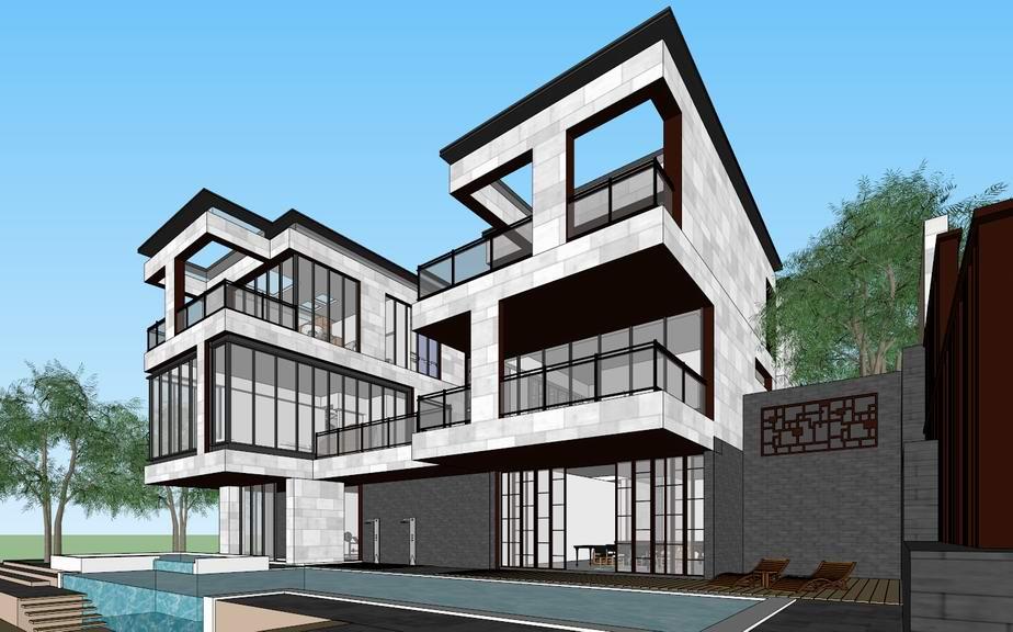 现代中式别墅SU模型