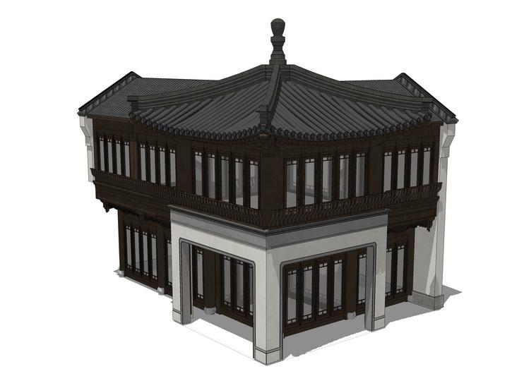 古建阁楼SU模型