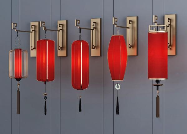 新中式灯笼壁灯3d模型
