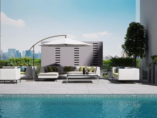 意大利B&B ltalia花园户外沙发茶几组合 现代户外椅 户外沙发 椅子 茶几 植物 泳池 意大利 B&B-ltalia