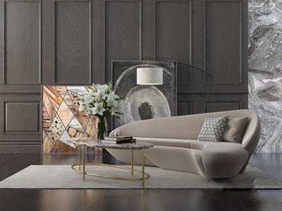 现代异形沙发 现代多人沙发 茶几 挂画 落地灯 饰品摆件 花艺