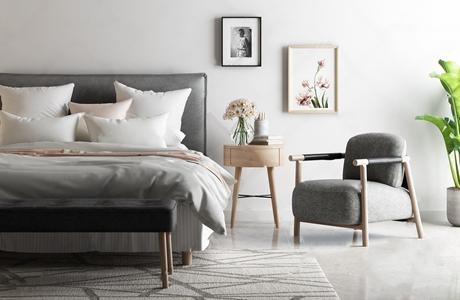 北欧单人床休闲椅组合 北欧单人床 休闲椅 床尾凳 床头柜 花艺 饰品摆件 挂画 植物 书