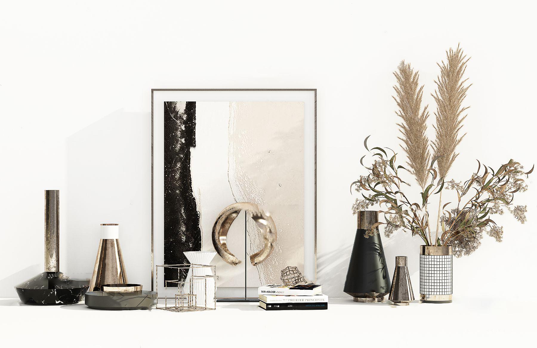 现代花瓶书籍饰品摆件3d模型