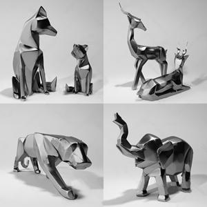 北欧雕像组合 北欧雕刻 北欧雕塑 几何动物 北欧雕刻 动物雕像