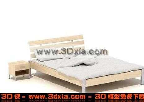白色简单的标准双人床3D模型
