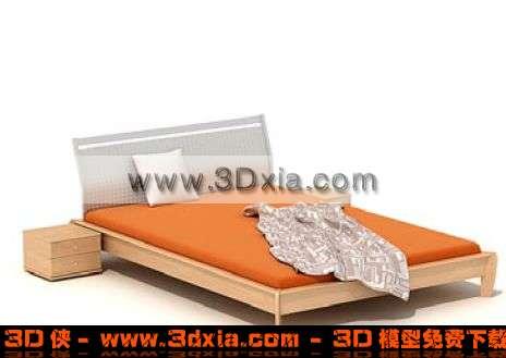 橙色时尚的双人床3D模型