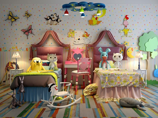 萌系公主房单人床梳妆台 现代儿童房 单人床 梳妆台 吊灯 台灯 床幔 玩具 墙饰