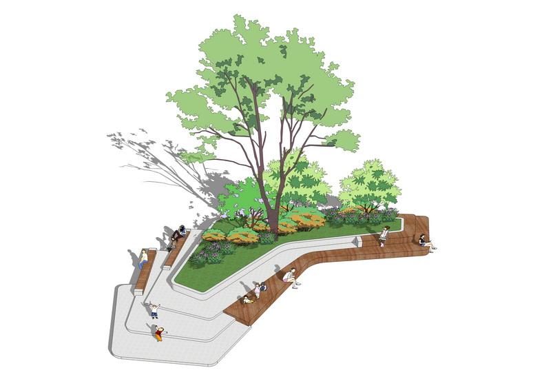 现代广场树池坐凳SU模型