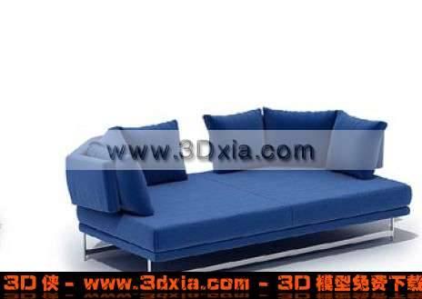 非常精美的藍是沙發床3D模型