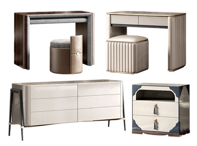 北欧梳妆台床头柜组合 北欧梳妆台 装饰柜 床头柜 电视柜