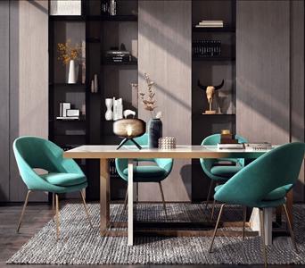 现代餐桌椅组合 现代餐桌椅 长餐桌 椅子 壁柜 饰品摆件 台灯