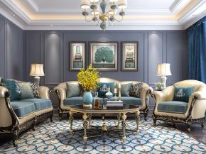 欧式古典沙发茶几灯具摆件组合3D模型