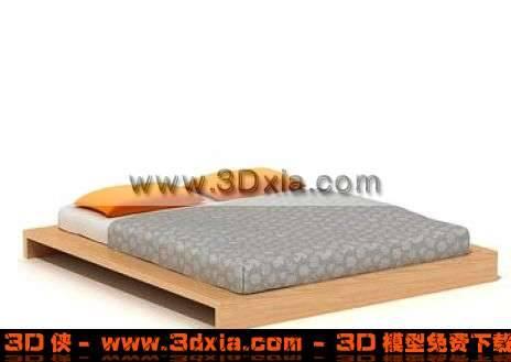 简单舒适的双人矮床3D模型