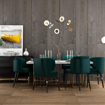 后现代轻奢餐桌椅边柜吊灯组合3D模型