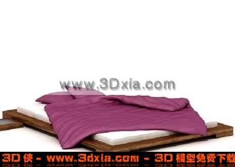 时尚精致的双人平板床3D模型