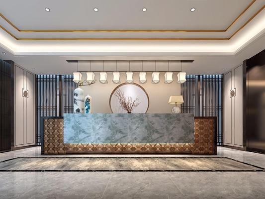 新中式会所前厅 新中式前台 服务台 前厅 台灯 吊灯 装饰墙