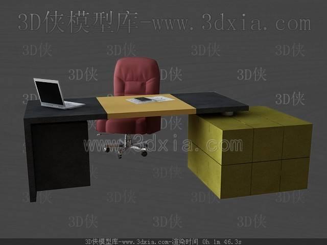 办公桌3D模型下载-C48-版本max8