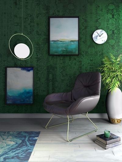 现代皮质椅子 现代单人椅 吊灯 花瓶 地毯
