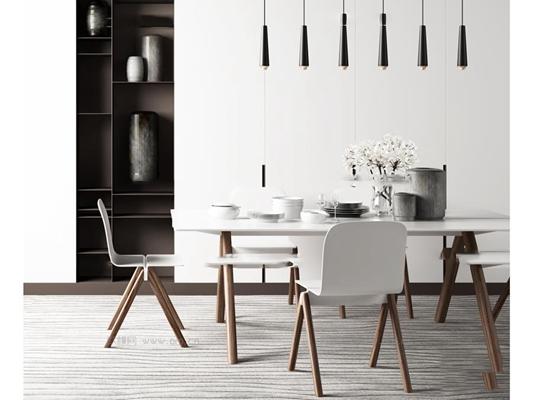 �F代餐意思桌椅子吊�艚M合3D模型