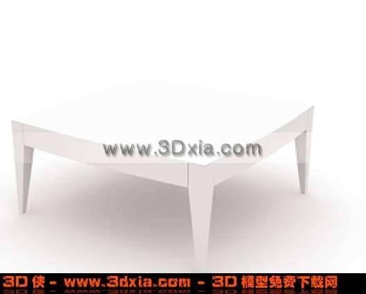 简单的白色矮脚桌子3D模型