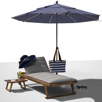北欧户外休闲椅遮阳伞组合3D模型