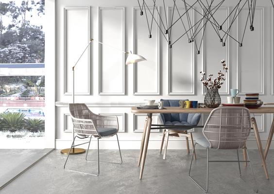 北欧餐桌餐椅组合3D模型