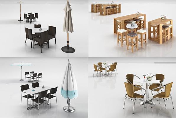 现代户外餐桌椅遮阳伞组合3D模型