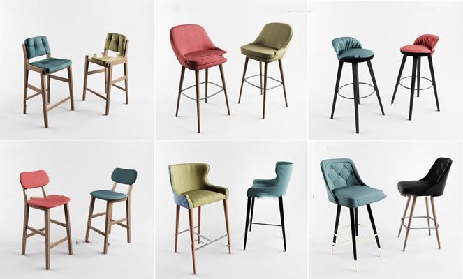 北欧实木吧椅组合3D模型