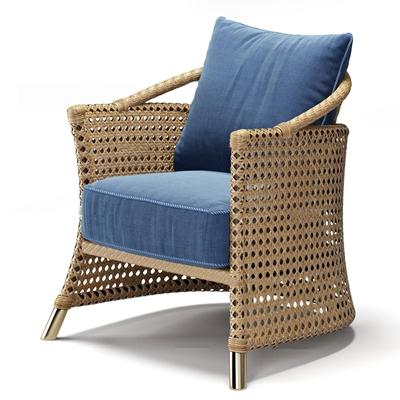 现代藤编户外椅3D模型