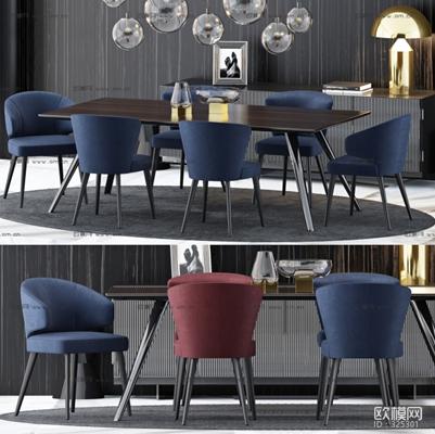 现代餐桌椅餐边柜台灯组合3D模型