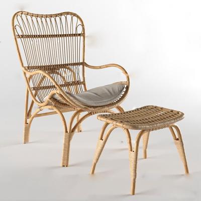 现代藤编户外休闲椅3D模型