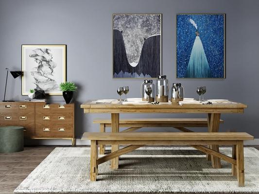新中式实木餐桌椅餐具边柜装饰画组合3D模型