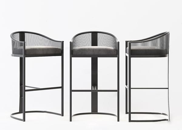 新中式靠背吧台椅3d模型