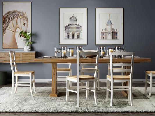 美式实木餐桌椅餐具装饰画组合3D模型