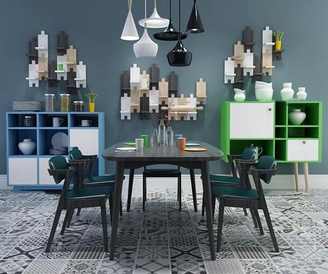 现代餐桌椅餐边柜置物架组合3D模型