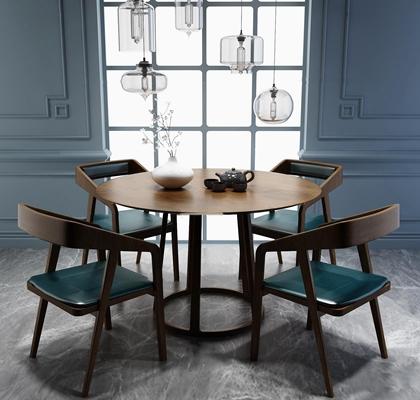 北欧圆形餐桌椅吊灯组合3D模型