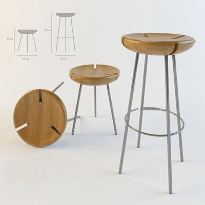 北欧休闲吧台椅3D模型