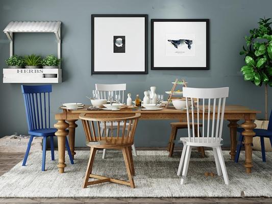 美式餐桌椅餐具盆栽组合3D模型