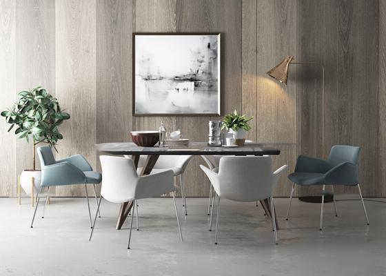 北欧餐桌椅餐具盆栽落地灯组合3D模型