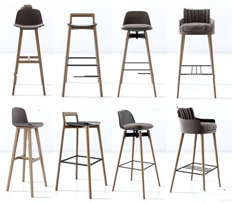 現代實木吧臺椅組合3D模型