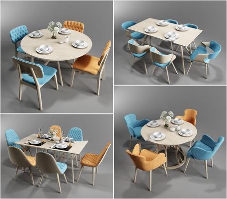 北欧实木餐桌椅餐具组合3D模型